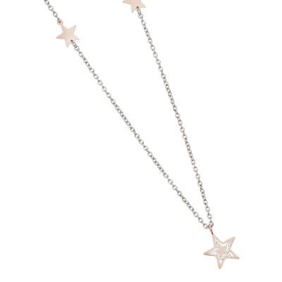 Collana rodiata con stelle placcate oro rosa