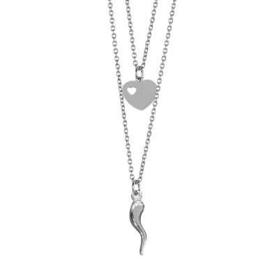 Collana doppio filo degradè con cuore e cornetto portafortuna