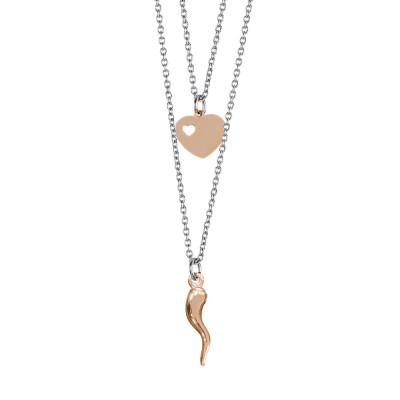 Collana doppio filo degradè con cuore e cornetto portafortuna rosati