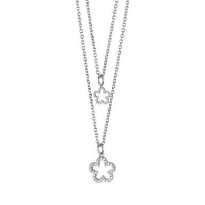 Collana doppio filo degradè con fiori pendenti e zirconi