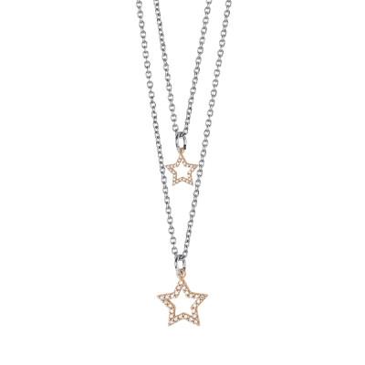 Collana doppio filo degradè con stelle rosate e zirconi