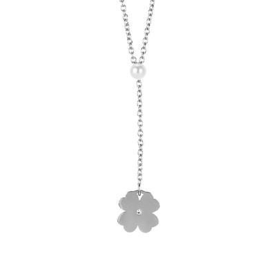 Collana con perla Swarovski e quadrifoglio pendente
