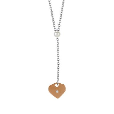 Collana con perla Swarovski e cuore rosato pendente