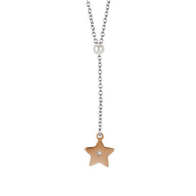 Collana con perla Swarovski e stella rosata pendente