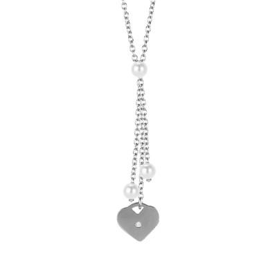 Collana con pendente a ciuffetto, perle Swarovski e cuore