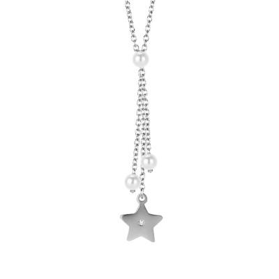 Collana con pendente a ciuffetto, perle Swarovski e stella