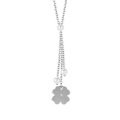 Collana con pendente a ciuffetto, perle Swarovski e quadrifoglio