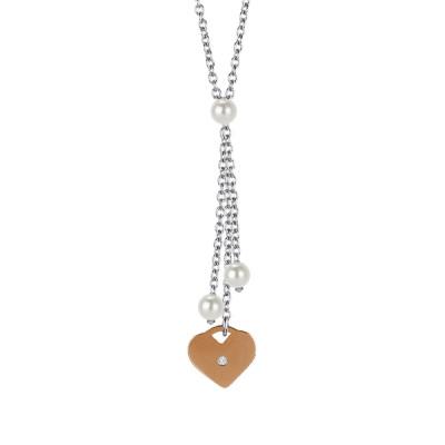 Collana con pendente a ciuffetto, perle Swarovski e cuore rosato