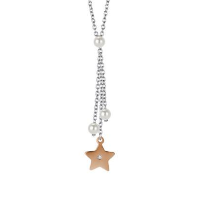 Collana con pendente a ciuffetto, perle Swarovski e stella rosata