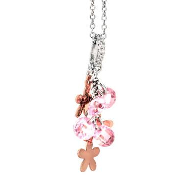 Collana in argento con charms rosati e zirconi rosa
