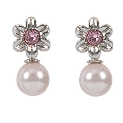 Orecchini a lobo con fiore, cristallo Swarovski rosa e perla