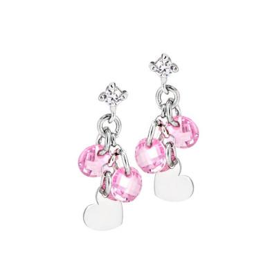Orecchini in argento con charms e zirconi rosa