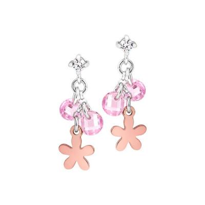Orecchini in argento con charms rosati e zirconi rosa