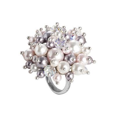 Anello con bouquet di cristalli e perle Swarovski aurorora boreale, white, mauve e rosaline