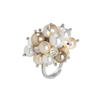 Anello con bouquet di cristalli e perle Swarovski aurorora boreale, bronze, peach e white
