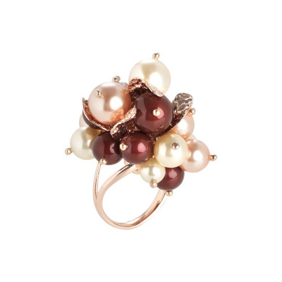 Anello con bouquet di cristalli e perle Swarovski aurorora boreale, bordeaux, light gold e rose peach