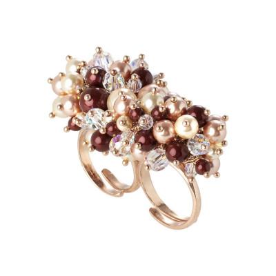 Anello doppio con bouquet di cristalli e perle Swarovski aurorora boreale, bordeaux, light gold e rose peach