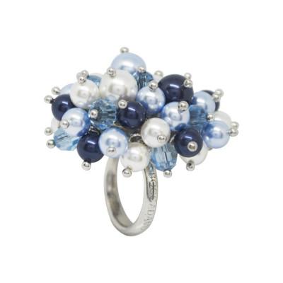 Anello con bouquet composto da cristalli acquamarina e perle Swarovski dalle tonalità blu