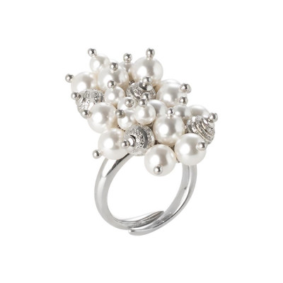 Anello con bouquet di perle Swarovski white e sfere diamantate