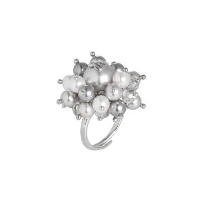 Anello con perle Swarovski bianche e light grey e cristalli