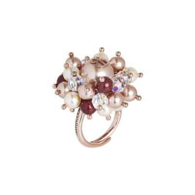 Anello con perle Swarovski bordeaux, rose gold e light gold e cristalli