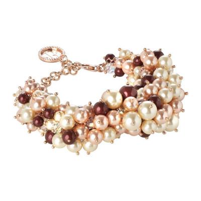 Bracciale con composizione di perle Swarovski bordeaux, light gold e rose peach e cristallo aurora boreale
