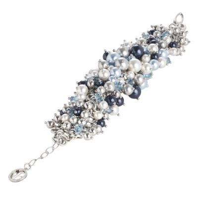 Bracciale con composizione di perle Swarovski dalle tonalità blu e cristalli acquamarina
