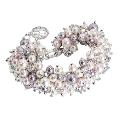 Bracciale con composizione di perle Swarovski white, mauve e rosaline e cristalli Swarovski aurora boreale