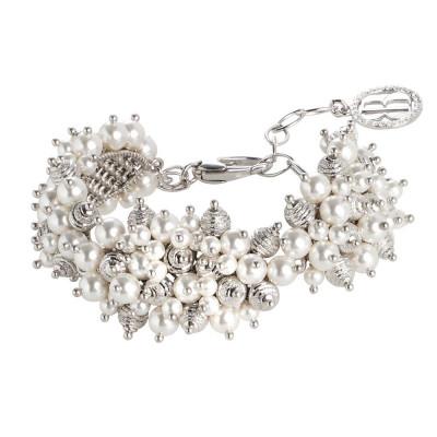Bracciale con composizione di perle Swarovski white e sfere diamantate