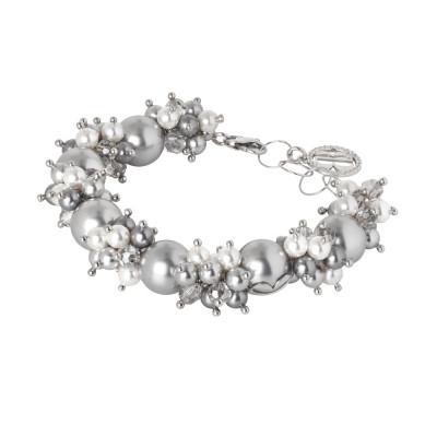 Bracciale con perle e cristalli Swarovski grey e zirconi