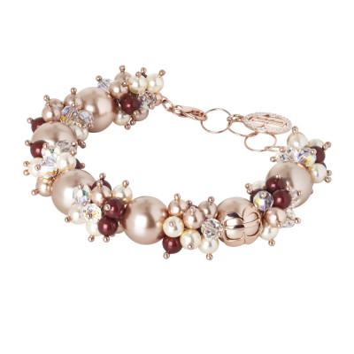 Bracciale con perle e cristalli Swarovski dalle sfumature rosa e zirconi