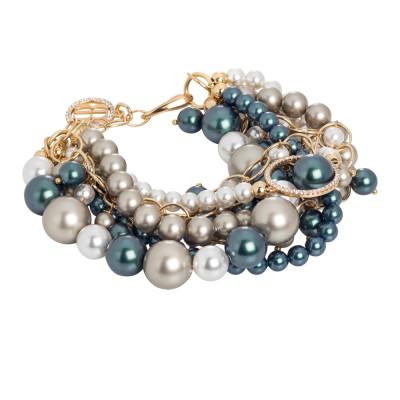 Bracciale dorato con fili di perle Swarovski e zirconi