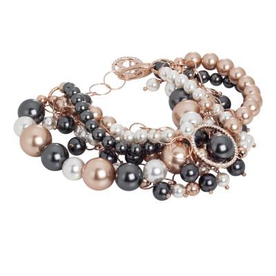 Bracciale rosato con fili di perle Swarovski e zirconi