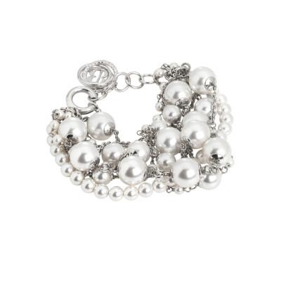 Bracciale rodiato con fili di perle bianche Swarovski e zirconi
