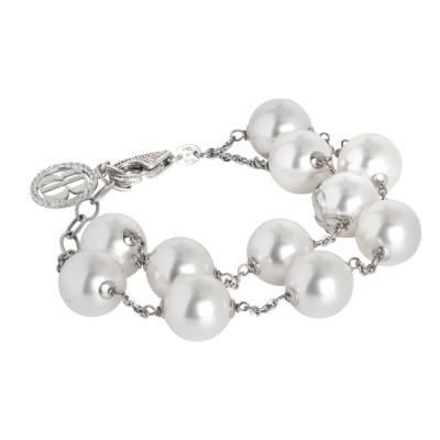 Bracciale doppio filo di perle bianche Swarovski e zirconi