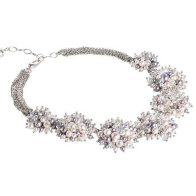 Collana con bouquet di perle e cristalli Swarovski mauve, rosaline, white e aurora boreale