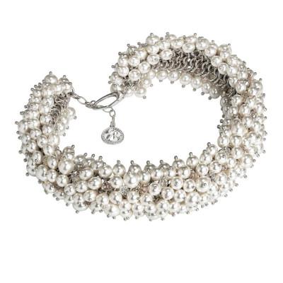 Collana corta con composizione di cristalli e perle Swarovski white