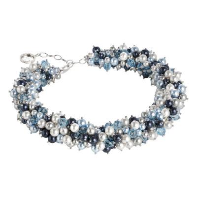 Collana di perle e cristalli Swarovski dalle tonalità blu