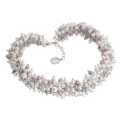 Collana con composizione di perle e cristalli Swarovski dalle tonalità lilla