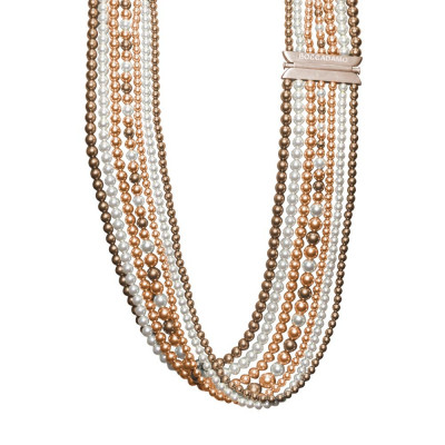 Collana multifilo di perle Swarovski bronze, peach e white