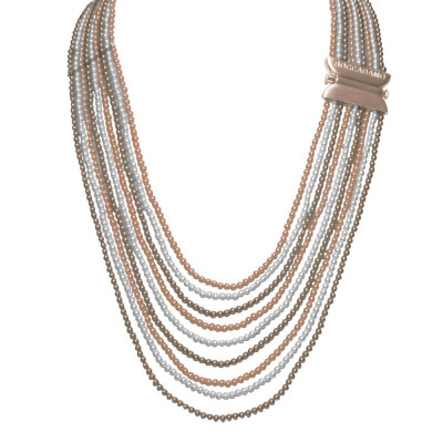 Collana con fili degradè di perle Swarovski bronze, peach e white