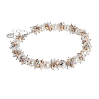 Collana con bouquet di perle Swarovski dalle sfumature color crema e zirconi