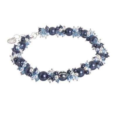 Collana con bouquet di perle Swarovski dalle sfumature blu e zirconi