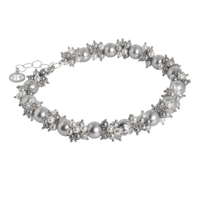 Collana con bouquet di perle Swarovski grey e zirconi