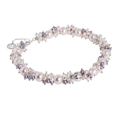 Collana con bouquet di perle Swarovski dalle sfumature viola e zirconi