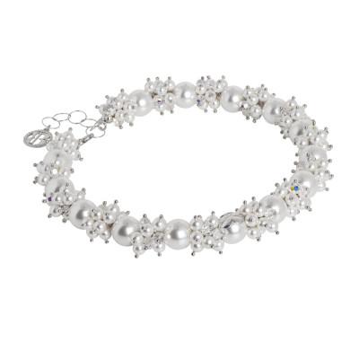 Collana con bouquet di perle bianche e zirconi