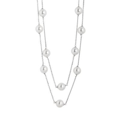 Collana due fili in argento con perle Swarovski e zirconi