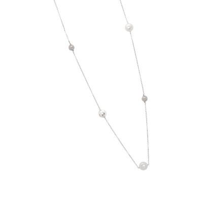 Collana in argento con perle Swarovski, sfere diamantate e zirconi