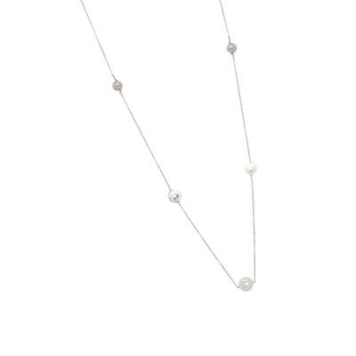 Collana rodiata con perle Swarovski, sfere diamantate e zirconi