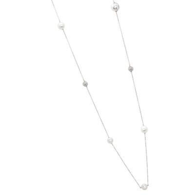 Collana lunga con perle Swarovski, sfere diamantate e zirconi